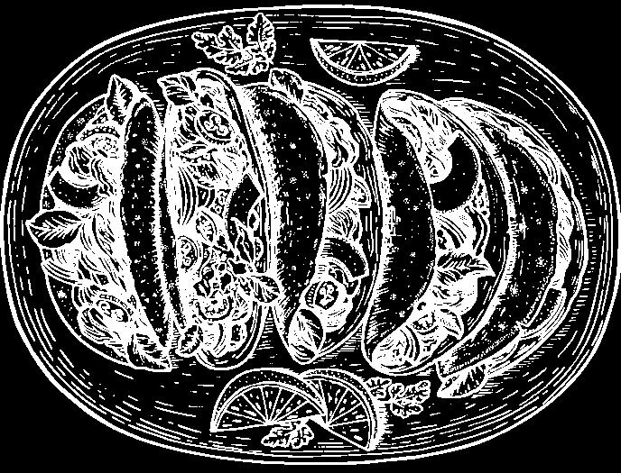 White illustration of fajita